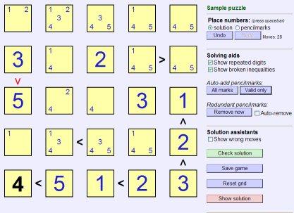 Futoshiki at dofutoshiki com: Play Futoshiki Online